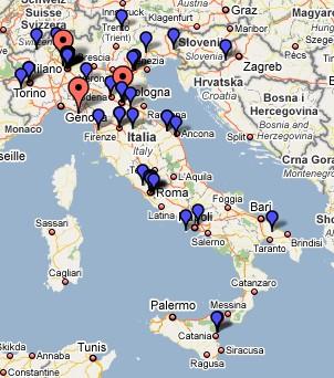 vai alla google map con le sedi delle strutture centri associazioni medicine olistiche alternative in italia
